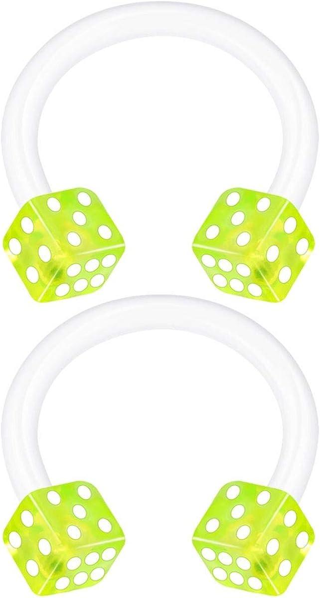 2PCS Bioplastic Horseshoe Circular Barbell 16 Gauge 5/16 8mm 3mm Dice Lobe Helix Earrings Nose Piercing Jewelry Choose Colors