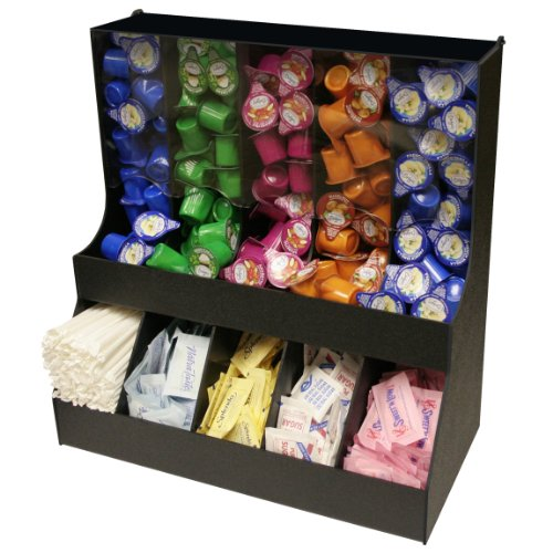 "Large Professional Coffee Condiment Organizer 18"" Wide, with 5 Gravity Columns with Lid & 5 Compartments for Sugars,Creamers. 18 1/2"" W x 16"" High. Made in the USA! by PPM."
