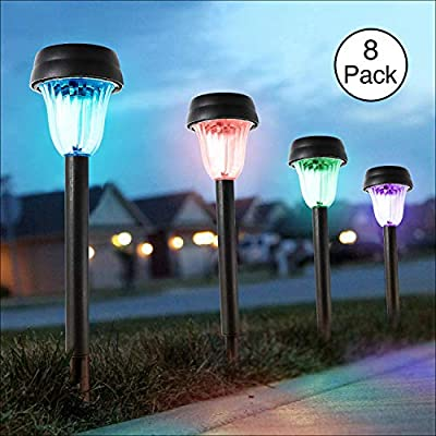 BEEZOK Outdoor Pathway Bright Solar Lights - 8 Pack LED Landscape Light, Solar Powered and Waterproof for Garden Patio Lawn Yard Path Sidewalk Walkway Driveway (7 Lighting Colors)