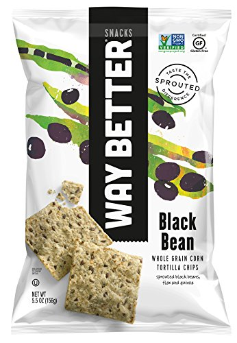 Way Better Snacks Sprouted Gluten Free Tortilla Chips, Beyond Black Bean, 5.5 Ounce, 12 Count