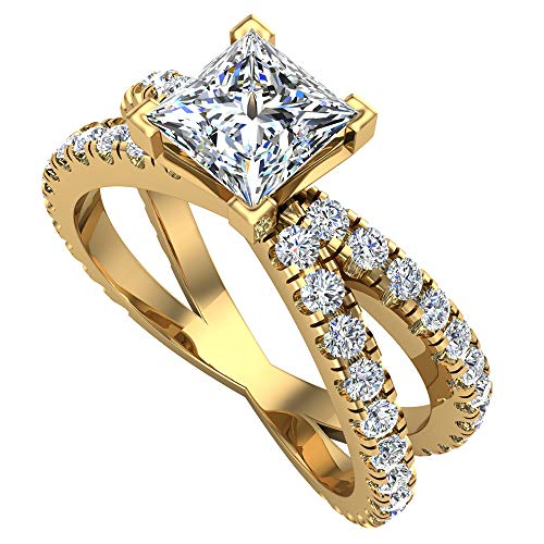 X Cross Split Shank Princess Cut Diamond Engagement Ring 1.75 carat total weight 18K Yellow Gold (G-H,VS2)