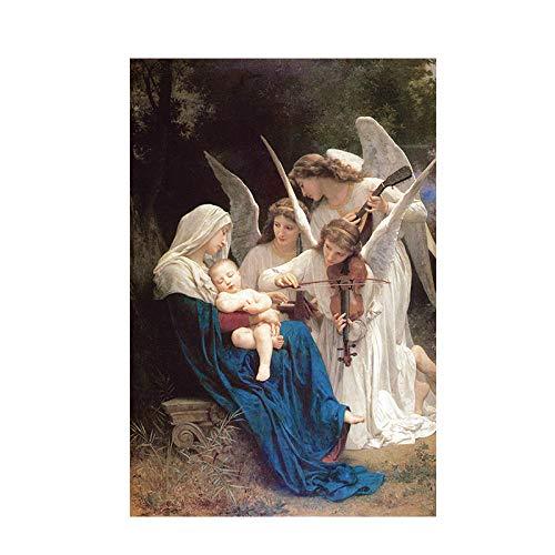 zszy Lied des Engel William Adolphe Portret olieverfschilderij op canvas Pop Art Poster en prints Wand voor woonkamer-40x60cmx1 st. Zonder lijst