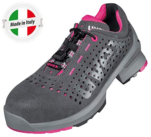 Uvex 1 Ladies Arbeitsschuhe - Sicherheitsschuhe S1 SRC ESD - Grau-Pink, Größe:38