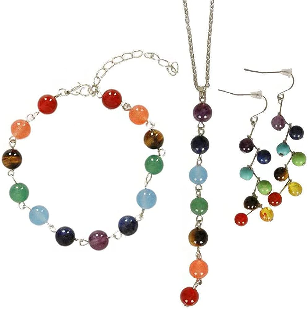 xinpeng Women 7 Chakra Natural Stones Gemstone Necklace Bracelets Earrings Jewelry Set