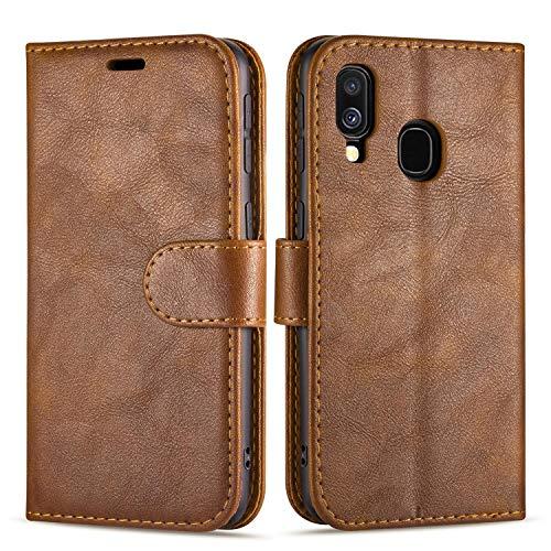 """Case Collection Étui de Style Portefeuille avec Rabat pour Coque Samsung Galaxy A40 (5,9"""") en Cuir de première qualité avec emplacements Carte de crédit et Monnaie pour Samsung Galaxy A40 Coque"""