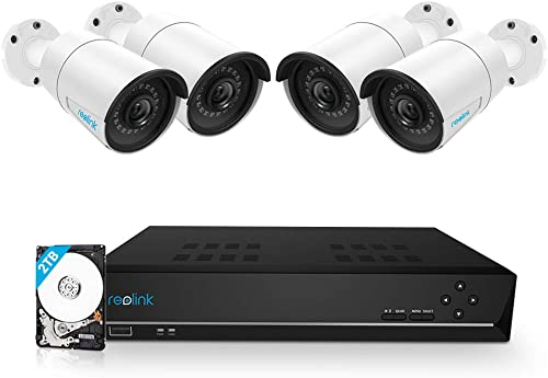 Reolink 8CH 5MP PoE Home Security Camera System, 4pcs Wired 5MP Outdoor PoE IP Cameras, 5MP 8-Channel NVR Security Sy...