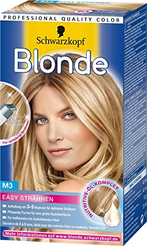 3x Schwarzkopf Blonde Easy Strähnen / M3 / Aufhellung um 3-5 Nuancen/ für hell- bis dunkelblondes Haar/ mit Easy-Applikator