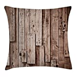 """Ambesonne Wooden Throw Pillow Cushion Cover, Vintage Barn Shed Floor Wall Planks Sepia Art Old Natural Plywood Lodge Image Print, Decorative Square Accent Pillow Case, 16"""" X 16"""", Grey Brown"""