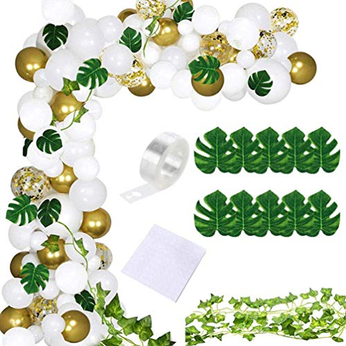 NUOBESTY 124pcs Tropical Party Balloon Garland Kit Artificial Palm Leaves Vines Colorful Balloon Confetti Balloon Dot Glue Accessories for Decoration