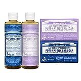 Dr. Bronner's - Peppermint & Lavender Gift Set - (2) 8 Ounce Pure-Castile Liquid Soaps and (2) 5 Ounce Castile Bar Soaps