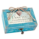 Love You Granddaughter My Heart Teal Wood Locket Jewelry Music Box Plays Tune You are my Sunshine