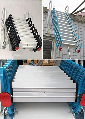 Metal loft Stairs with armrests 4.92ft-13.12ft Aluminum attic Ladder Pull Down Thickened Folding Ladder Customizable Height (Custom Size,Black White)