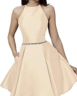 JONLYC Women's A-Line Halter Short Homecoming Dresses Graduation Party Gown