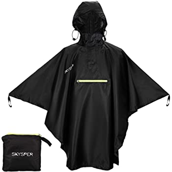 SKYSPER Rain Poncho for Adults, Hooded Raincoat for Women Men with Reflective Stripe and Front Pocket Lightweight Waterproof Reusable Rain Coat Outdoor Hiking Camping Emergency Rain Gear Black