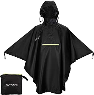 SKYSPER Rain Poncho Hooded for Women Men Adults Rain Coat with Reflective Stripe and Front Pocket Lightweight Waterproof R...