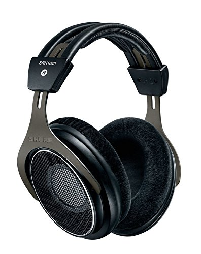 Shure SRH1840 Professional Open-back Premium Headphones, natural sound with smooth, extended high-end and accurate bass, wide stereo image, individually matched drivers , detachable cable, velour ear pads, black/silver