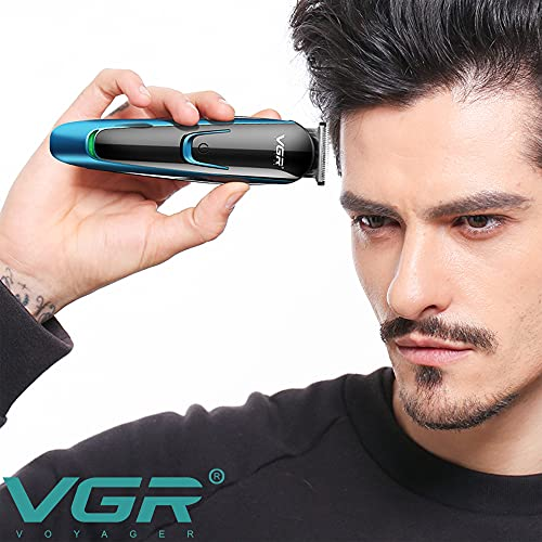 VGR V-183 Professional Rechargeable Cordless Electric Hair Clippers Trimmer Haircutting Kit with 4 Guide Combs for Men (3, 6, 9, 12 mm, Blue)