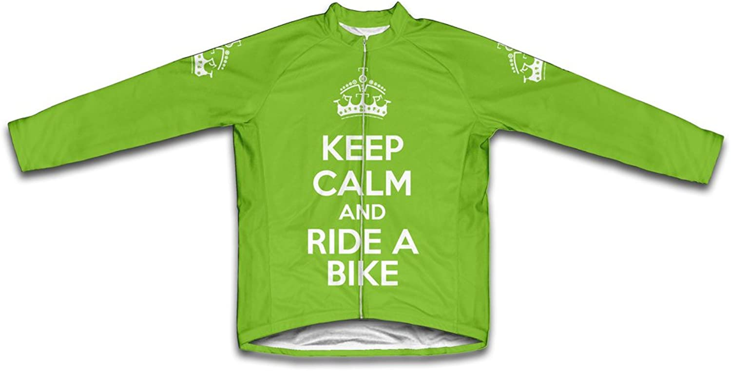 Keep Calm and Ride a Bike Long Sleeve Cycling Jersey for Women Green Neon Size 3XL