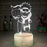 FUTYE 3D noche luz ilusión LED lámparas decoración lámpara para niños Naruto Cool 3D LED noche luz japonesa anime Naruto con daga niños lámparas de Navidad dormitorio decoración Navidad niño juguetes