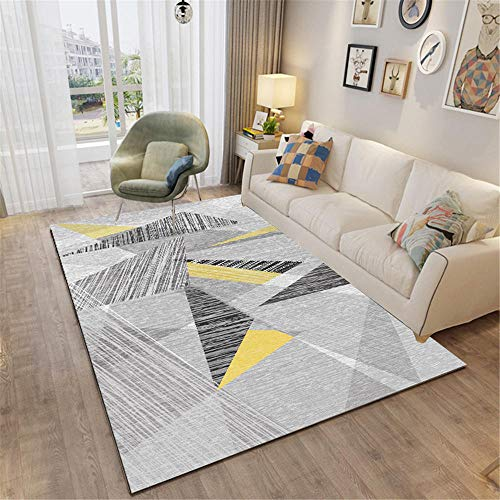 DJHWWD Garden Outdoor Rug Living room carpet gray modern style triangle design anti-mite carpet durable Large Rugs For Living Room Washable Rugs Non Slip grey 80X160CM