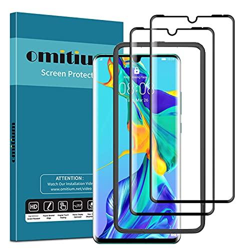 omitium 3D Vollabdeckung Panzerglas für Huawei P30 Pro, 2 Stück Schutzfolie, Fingerabdruck-ID unterstützen, mit Rahmen-Installationshilfe 9H Härte Folie Displayschutzfolie für Huawei P30 Pro