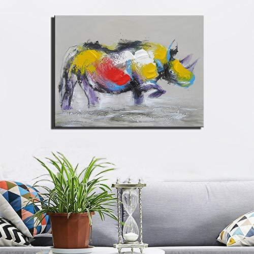 wZUN Cuadro Abstracto en Lienzo de Rinoceronte en la Pared del salón. Carteles e Impresiones de Animales de Arte Pop de Gran tamaño en la Sala de Estar 60x80cm