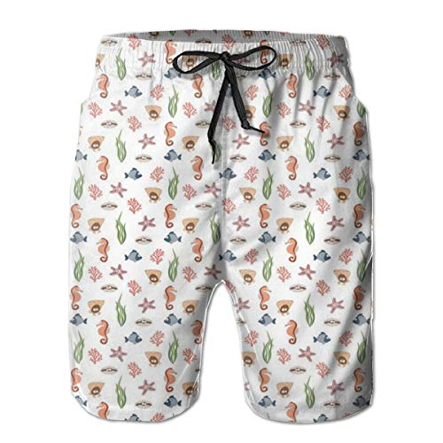 ZMYGH Men's Sports Beach Shorts Board Shorts,Colorful Various Sea Creatures and Plants Doodle Drawings Underwater Elements,Surfing Swimming Trunks Bathing Suits Swimwear,Medium