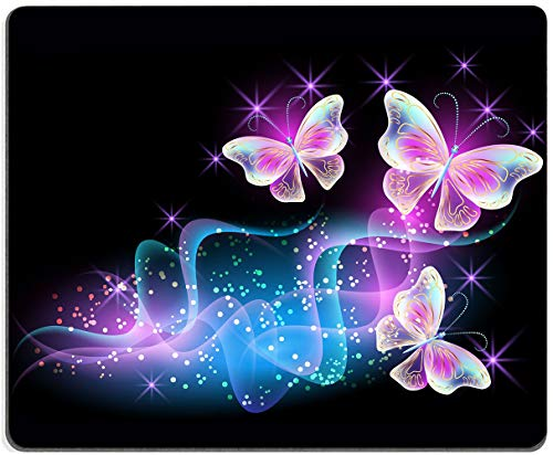 """Glowing Night Pink Butterflies Mouse Pad Non-Slip Rubber Base Gaming MousePads for Computers Laptop Office, 9.5""""x7.9""""x0.12"""" Inch( 240mm x 200mm x 3mm)"""