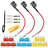 FULARR 3Pcs Premium ACU Add-A-Circuit Fusible Tap Adaptador, Portafusibles Estilo Cuchilla, con Gratis Estándar Fusible X 15Pcs, Fusible Puller X 1Pcs, Cables Ataduras X 5Pcs –– 12V / 24V
