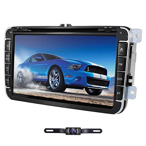 Doble DIN Car DVD Player Juegos incorporados + CANBUS con Pantalla táctil de 8 Pulgadas para VW/Skoda/Seat Soporte Teléfono Android Control de Volante Bluetooth con Espejo