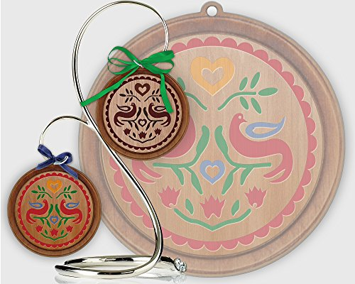 Red Tail Crafters Double Distelfink 3in/4in Hardwood Ornament PA Dutch Hex Sign