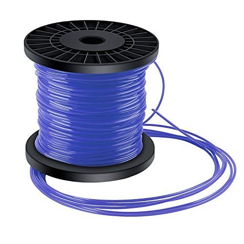 Forever Speed Fil pour débroussailleuses Tenseur de corde pour fil d'herbe 5 tranches de fil Diamètre 2,4 mm x 100 mètres - Bleu