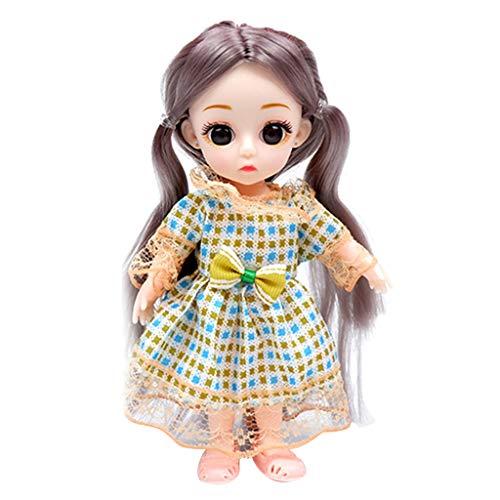 F Fityle Muñecas de Moda, Muñeca de 6 Pulgadas con Ropa, Zapatos, Disfraz, Juegos de Muñecas en Miniatura para Niñas, Regalos de Fiesta de Cumpleaños - Vestido