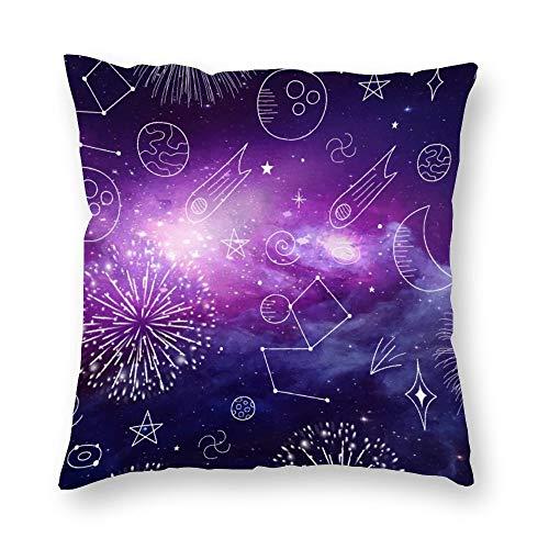 Funda de almohada sin marca de doble cara impresión púrpura espacio galaxia fuegos artificiales planeta cubierta de cojín corto de felpa con cremallera oculta cómoda cuadrada para salón sofá cocina 18 x 18 pulgadas