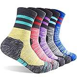 FEIDEER Calcetines de senderismo para mujer, multipack de calcetines para recreación al aire libre, calcetines absorbentes, tamaño 3-8
