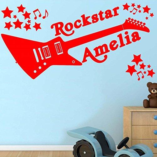 Windsor Designers Rockstar personnalisé n'importe Quel nom, Sticker Mural, Transfert, Autocollant Décoration Murale Enfants Lit, Noir, Large -Size 120cm x 60cm