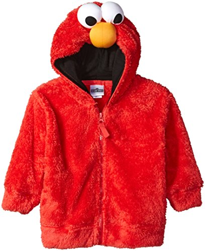 Sesame Street Boys' Toddler Fuzzy Costume Hoodie (Multiple Characters), Elmo Red, 4T