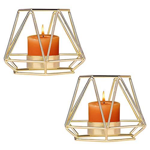 2 candelabros de metal portavelas portavelas geométrico Centro de Mesa Candelabro Pilar candelabro decorativo candelabro de hierro forjado para decoración de bodas regalo del día de la madre dorado