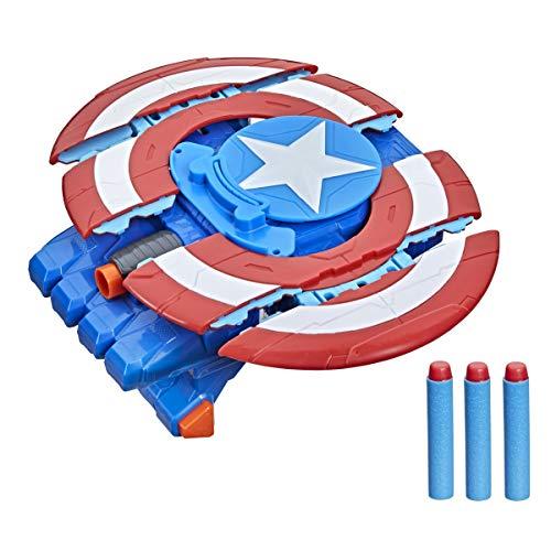 Hasbro Marvel Avengers Mech Strike Captain America Strikeshot Shield Toy, 3 NERF Darts