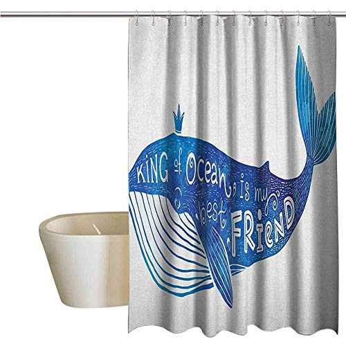 Whale Cool Shower Curtain Rustic Kind of Ocean is My Best Friend Quote with Whale Fish Paintbrush Artsy Picture Bathroom Decor Durable W62 x L72 Inch Violet Blue White