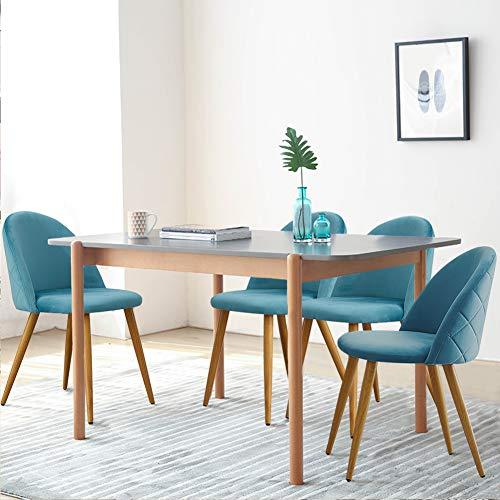 CLIPOP Juego de 4 sillas de comedor de terciopelo con respaldo y patas de metal resistente de estilo de madera para salón, sala de estar, cocina, oficina y restaurante, azul oscuro, 46*46*77 CM