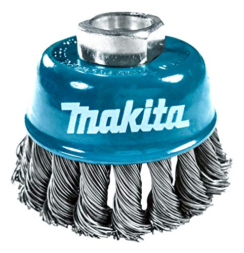 Makita 1 Piece - 3 Inch Knotted Wire Cup Brush For Grinders - Heavy-Duty Conditioning For Metal - 3' x 5/8-Inch | 11 UNC
