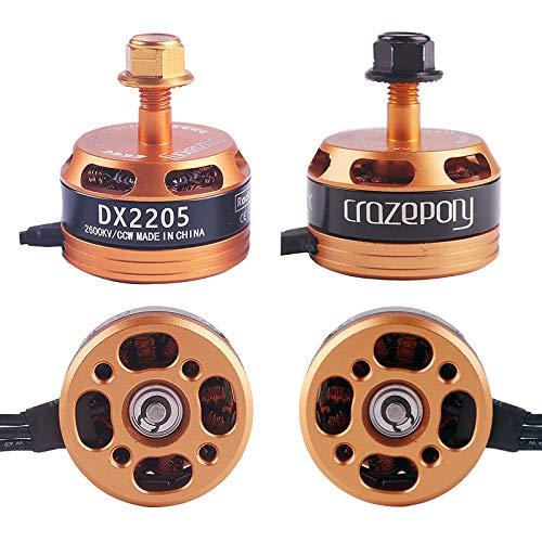 Crazepony 4pcs Brushless Motor DX2205 2600KV 2-4S Lipo Battery Racing Edition for QAV210 X220 QAV250 FPV Racing Drone (Gold)