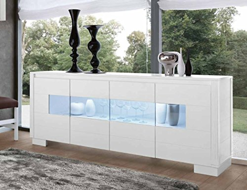 Buffet buffet Madia 4 portes avec verre bois massif Design moderne