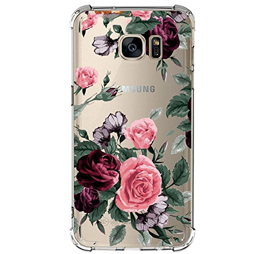 JEPER Coque Compatible Samsung S7 Edge TPU Souple Silicone Crystal Clear Transparent Quatre Coins Airbag S7 Ultra-mince Anti-Choc Anti-Scratch Ananas Galaxy S6 S6 Edge Cover (Galaxy S7, pattern 03)