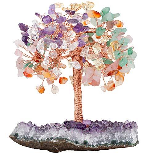 Nupuyai Árbol de piedras preciosas naturales en bruto para decoración Feng Shui, para escritorio y altar, 7 chakras sakro árbol con base de cristal amatista