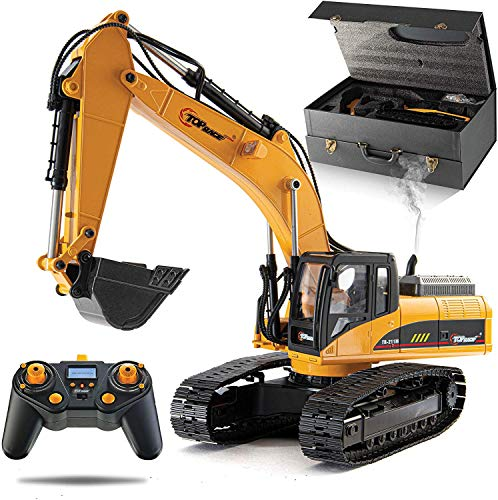 Top Race 23 Channel Hobby Remote Control Excavator, Construction Vehicle RC Tractor, Full Metal Excavator Toy, Carries 180 Lbs, Diggs 1.1 Lbs Per Cubic Inch, Real Smoke, V3 Version 3