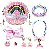 Little Girls Purses,8pcs,Shiny Rainbow Purse for Girls,Pink Sequins Handbag,Glitter Kids Accessories Toy Purses Gift