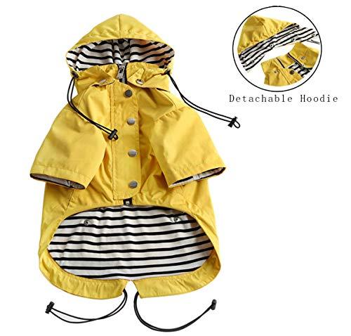 Pethiy Hunde-Regenmantel, modisch, mit Reißverschluss, reflektierende Knöpfe, Taschen, Regen- und wasserabweisend, Verstellbarer Kordelzug, abnehmbare Kapuze