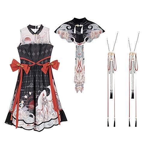 Z.L.F.J.P Estilo Chino Lolita Princess Dress Vestido Victorian Vestido Mujer Ropa Vintage Kawaii Ropa Dulce Vestido (Color : Full Set, Size : XL)